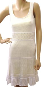 Elle short dress White & Yellow Layered Perforated Cut-out Sleeveless on Tradesy