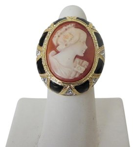 AMEDEO Amedeo Art Deco Black Enamel Cameo Ring Size 9