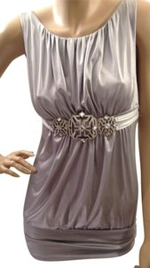 bebe Metallic Embellished Jeweled Satin Top Silver