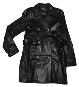 Nicole Miller Buttery-soft Leather Short Trench Double-breasted Trench Coat