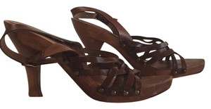 MIA Brown leather, brown wood Pumps