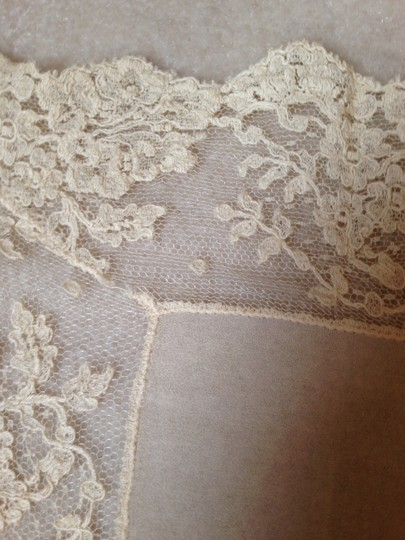 Other Vintage Silk Scarf with Lace Trim