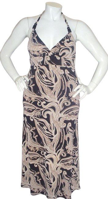 Item - Black Brown Tan Cream D16521-068. Halter Soft Lined Rayon Med. Long Casual Maxi Dress Size 8 (M)