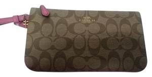 Coach Wallet New Wristlet in Brown/Dahlia(Pink)