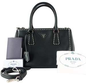 Prada City Calf Leather White Stitching Suede Tote in Black