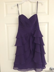 Allure Bridals Eggplant Chiffon 1327 Feminine Bridesmaid/Mob Dress Size 4 (S)