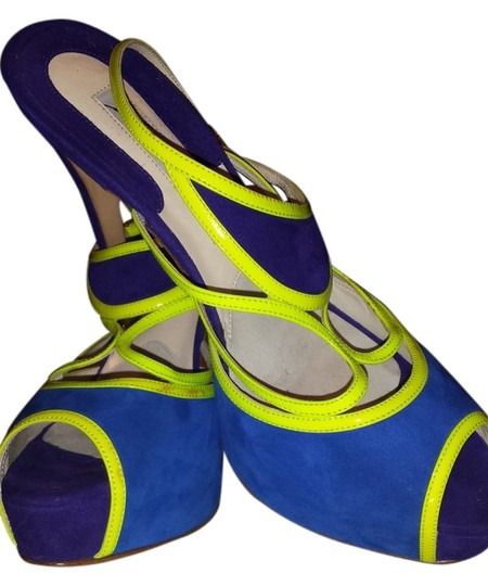 Brian Atwood Fluorescent Yellow, Royal Blue, Purple suede Platforms