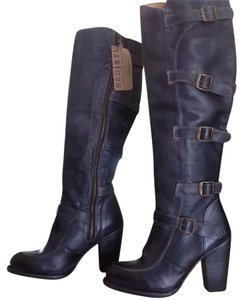 Bed|Stü Leather High Heel Tall Moto Black Rustic Boots