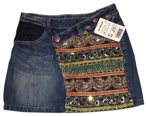 Desigual Jeans Mini Bling Designer Mini Skirt