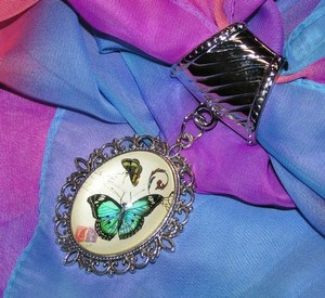 Unknown Blue Butterfly Scarf Pendant Charm Free Shipping