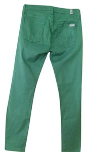 7 For All Mankind Colored Denim Colored Green Pants Skinny Jeans