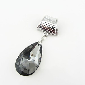 Black Glass Mirrored Teardrop Scarf Pendant Charm Free Shipping