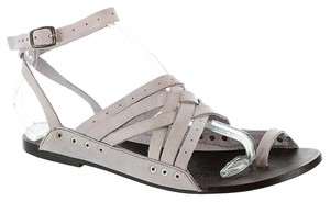 Free People Leather Boho Festival Hippie Chic Lavender Gray Sandals