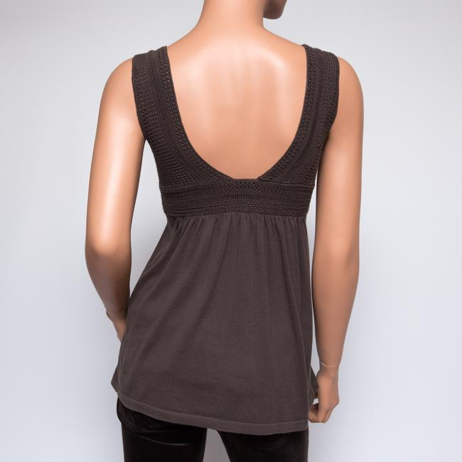 Theory 51174790 Sexy Sleeveless Crochet Top Brown Image 3