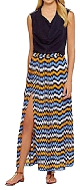 Michael Kors New With Tags Maxi Skirt Vintage Yellow / Oxford Blue / Navy