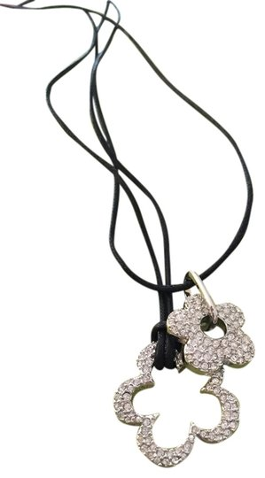 Preload https://item2.tradesy.com/images/swarovski-silver-with-black-leather-cord-necklace-1683706-0-0.jpg?width=440&height=440