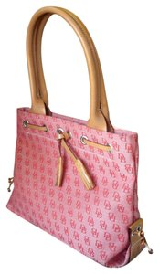 Dooney & Bourke Signature Canvas Tassel Tote in red