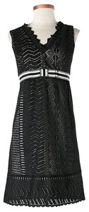 Anna Sui Crochet Lace Trim Ruffle Dress