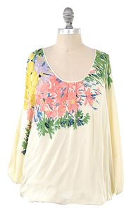 Tibi Silk Draped Floral Peasant Top Cream