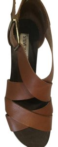 Steve Madden Wedge Leather Brown Cognac Sandals