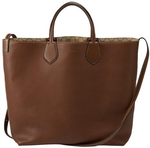 Gucci Beige Gg Canvas Leather Reversible Tote in Brown
