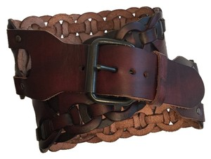 Brown Leather Weaved Accent Wide Belt