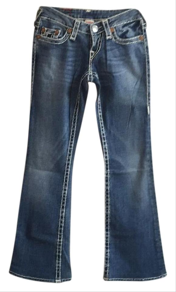 47109be731e9ff True Religion Medium Wash Blue with White Stitching Style  10500nbt2 Bobby  Super T Boot Cut Jeans