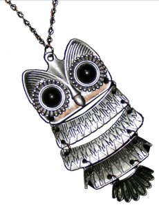 Unknown Silver owl sweater necklace free shipping