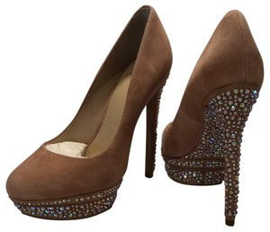 Brian Atwood Natural Pearl with crystal studs Platforms