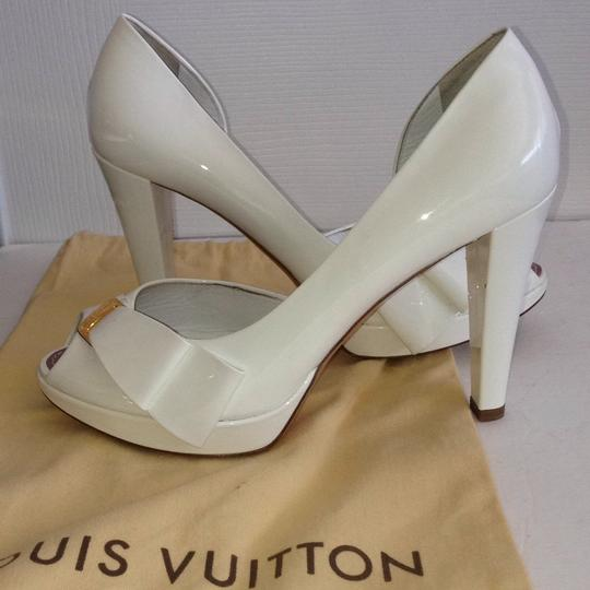 Louis Vuitton Size 37.5 Italy Patent Leather White Platforms Image 1
