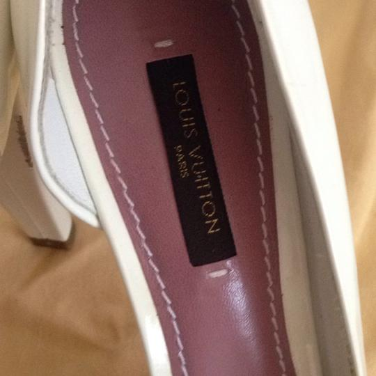 Louis Vuitton Size 37.5 Italy Patent Leather White Platforms Image 10