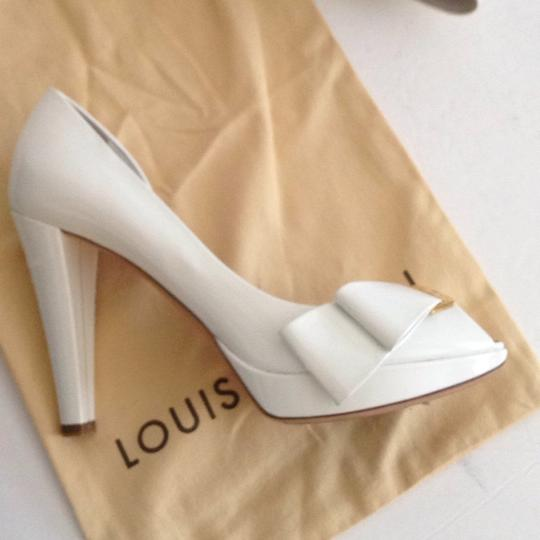 Louis Vuitton Size 37.5 Italy Patent Leather White Platforms Image 11