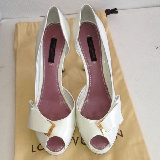 Louis Vuitton Size 37.5 Italy Patent Leather White Platforms Image 2