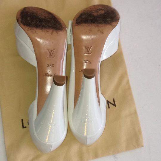 Louis Vuitton Size 37.5 Italy Patent Leather White Platforms Image 4