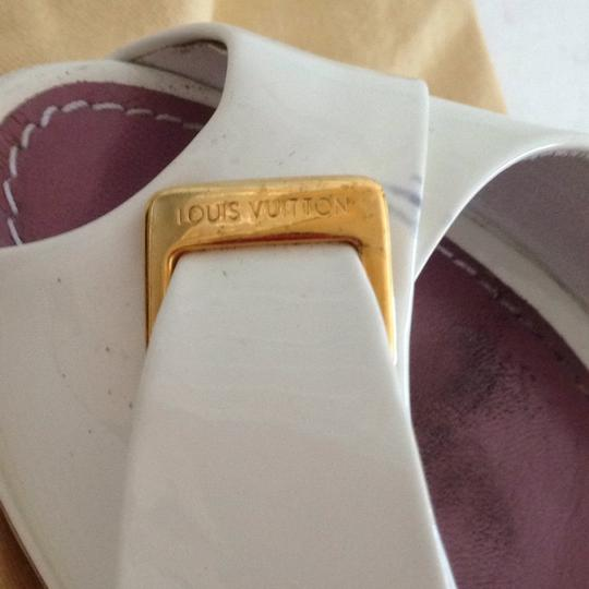 Louis Vuitton Size 37.5 Italy Patent Leather White Platforms Image 7