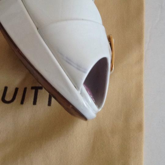 Louis Vuitton Size 37.5 Italy Patent Leather White Platforms Image 8