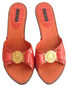 Louis Vuitton Slip 8-8.5 Patent Leather Orange Mules