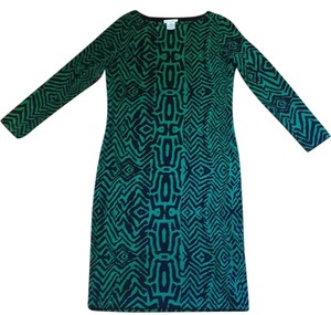 Oscar de la Renta Animal Print Print Geometric Sweater Dress