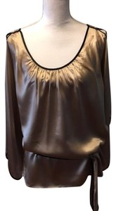 BCBGMAXAZRIA Silk Top Gold beige/black