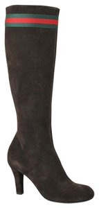 Gucci Suede Heel Knee 256340 Brown Boots