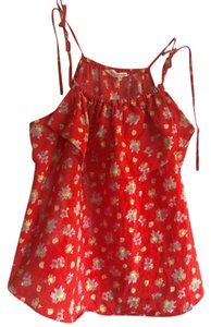 Rebecca Taylor Top red (with multicolor flowers)