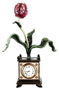 Jay Strongwater Jay Strongwater Clock Tulip Clock Swarovski Crystals Authentic Rare