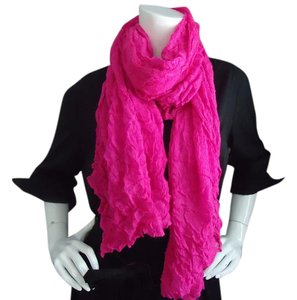 Light weight crinkle scarf in hot pink