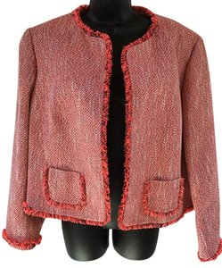 Tahari Orange Fringe Open Front orange/black/white Jacket