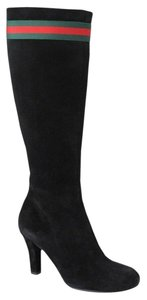 Gucci Suede Heel Knee 256340 Black Boots