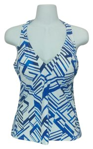 Profile Blue & white geometric bathing suit tankini top, 36D, #3741