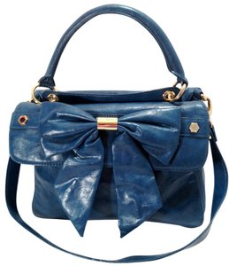 Gianni Bini Bow Faux Leather Shoulder Blue Messenger Bag