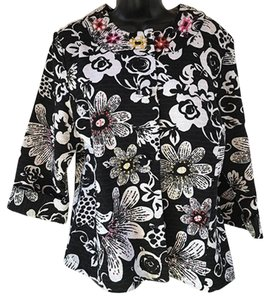 Chico's Sequins Black And White Floral No Collar black/white Jacket