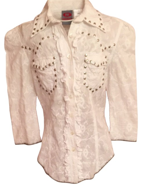 Item - White Embroidered Button Up Shirt Button-down Top Size 4 (S)