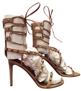 Valentino Rockstud Lace Up Gladiator Nude Pumps